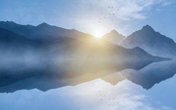 небо, озеро, горы, природа, отражение, пейзаж, птицы, kaiwan