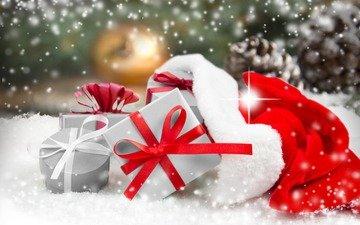 снег, новый год, подарки, рождество