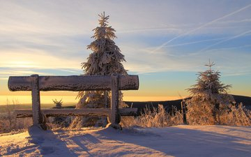 the sky, snow, nature, forest, sunset, winter, landscape, bench