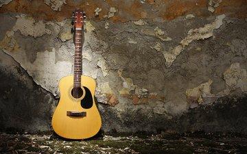 гитара, музыка, стена, музыкальный инструмент