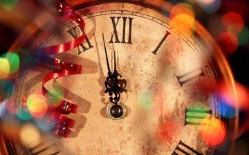 новый год, часы, стрелки, двенадцать часов