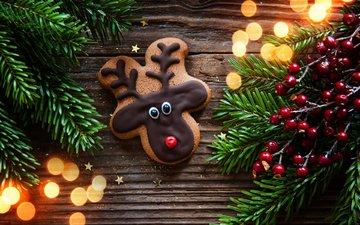 новый год, елка, хвоя, ветки, ягоды, рождество, печенье, выпечка