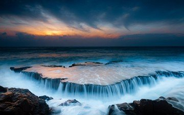 the sky, clouds, nature, stones, shore, sunset, landscape, sea, horizon, wave, twilight