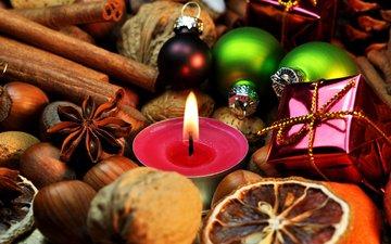 новый год, орехи, корица, свеча, рождество, елочные игрушки, пряности, анис, бадьян