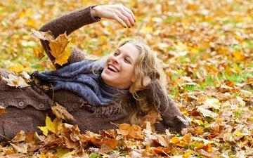 leaves, girl, blonde, smile, autumn, joy