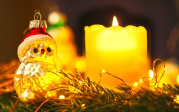 новый год, снеговик, свеча, рождество, гирлянда