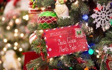 новый год, елка, письмо, рождество, елочные игрушки