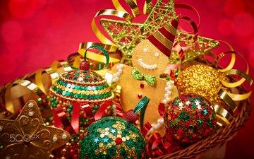 новый год, рождество, елочные игрушки