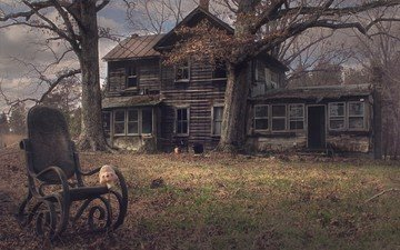 trees, the ruins, house, old, farm, rocking chair