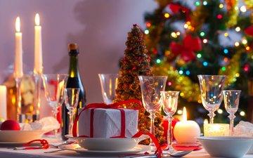 новый год, елка, стол, подарок, рождество, шампанское