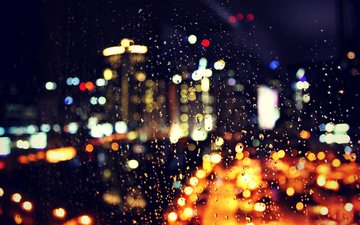 night, lights, drops, the city, rain, glass, bokeh