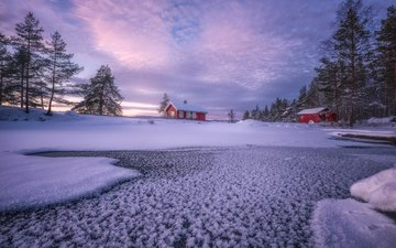the sky, clouds, trees, river, snow, nature, winter, landscape, houses