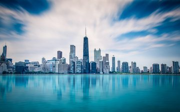 the sky, clouds, lake, the city, usa, chicago, michigan, abdullah aljaber