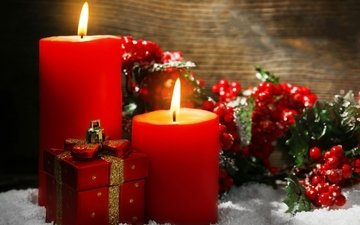 свечи, новый год, рождество, декор