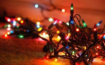 новый год, рождество, огоньки, гирлянда