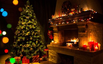 свечи, новый год, елка, подарки, камин, рождество