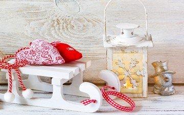 новый год, сани, фонарь, свеча, рождество, санки, фонарик, декор