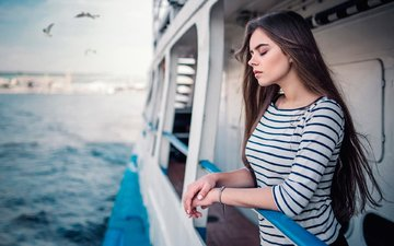 girl, sea, brunette, model, yacht, long hair, closed eyes, maxim guselnikov, ekaterina kuznetsova