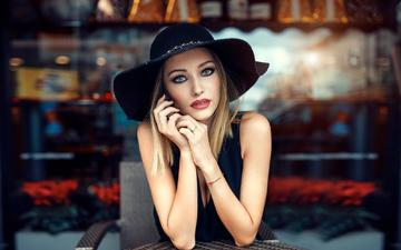 girl, blonde, look, model, hair, face, elegance, hat, alessandro di cicco