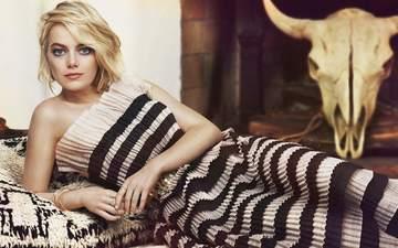 девушка, платье, блондинка, взгляд, волосы, лицо, актриса, фотосессия, эмма стоун, marie claire