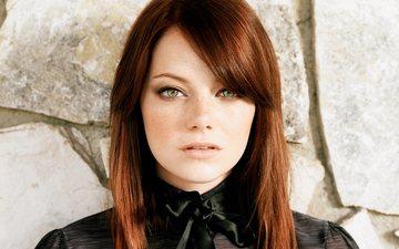 девушка, портрет, взгляд, рыжая, волосы, лицо, актриса, эмма стоун