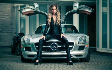блондинка, модель, автомобиль, длинные волосы, декольте, мерседес, сидя, мерс, jason harynuk