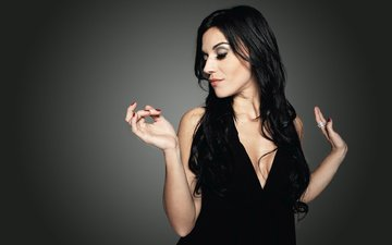 girl, music, singer, makeup, black dress, black hair, closed eyes, lacuna coil, cristina scabbia
