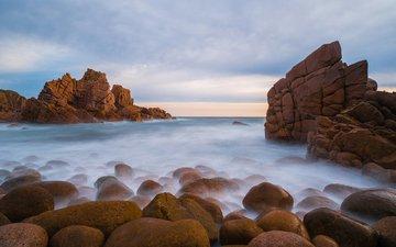 небо, облака, скалы, камни, берег, пейзаж, море