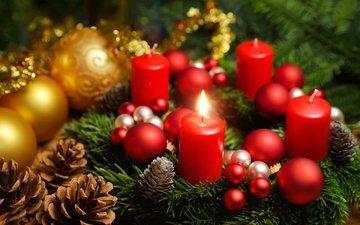 свечи, новый год, шары, рождество, шишки, елочные игрушки