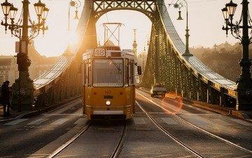 bridge, the city, tram, hungary, budapest
