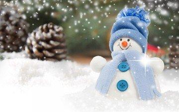 снег, новый год, снеговик, рождество, шишки
