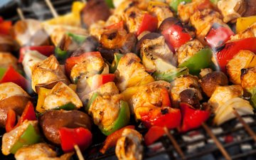 vegetables, meat, kebabs