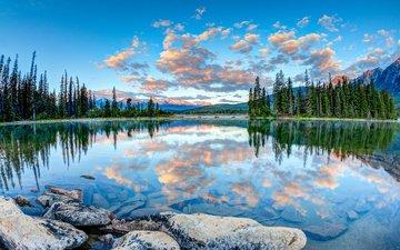 небо, облака, деревья, озеро, природа, камни, лес, отражение