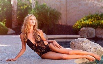 камни, девушка, блондинка, модель, бассейн, купальник, локоны, brad olson