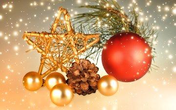 новый год, шары, звезда, шишка, рождество, декор