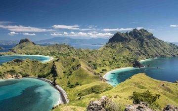 the sky, clouds, rocks, landscape, coast, islands, indonesia, komodo