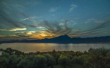 озеро, природа, закат, пейзаж