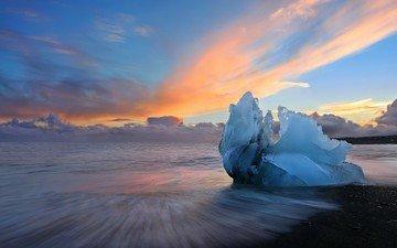 небо, облака, пейзаж, море, утро, лёд