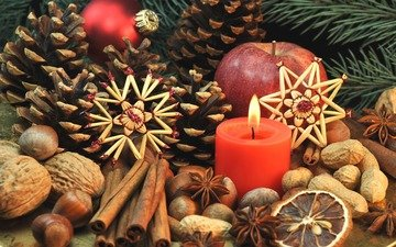 new year, nuts, stars, cinnamon, apple, candle, christmas, bumps, spices