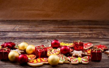 new year, balls, gifts, christmas, christmas decorations, cookies, cakes, wooden surface