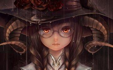 девушка, взгляд, ведьма, волосы, лицо, рога, шляпа, косы, аниме девушка