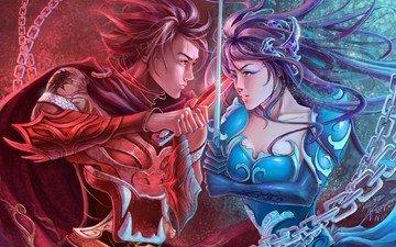 арт, девушка, оружие, меч, парень, фэнтези, противостояние, цепи
