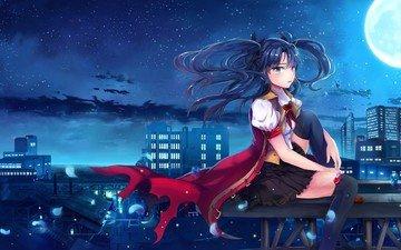 girl, look, the moon, skirt, face, blue eyes, blue hair, tohsaka rin