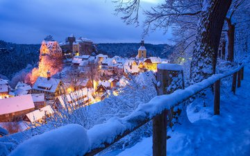 night, lights, snow, winter, the city, switzerland, germany, hohnstein, rico richter