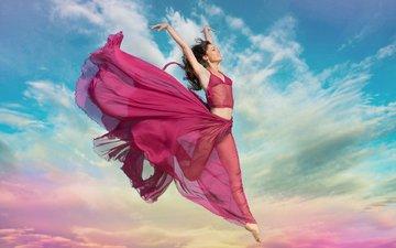 небо, облака, девушка, настроение, платье, прыжок, ножки