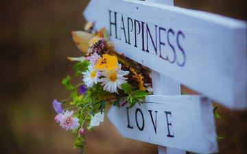 цветы, любовь, букет, счастье, полевые цветы, указатель