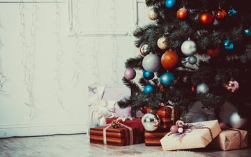 new year, tree, gifts, christmas, christmas decorations