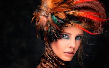 стиль, девушка, портрет, взгляд, лицо, перья, макияж, головной убор