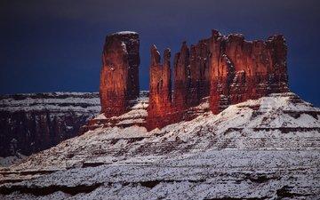 скалы, зима, пейзаж, каньон, маестро