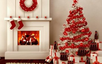 new year, tree, gifts, fireplace, christmas, christmas decorations